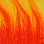 Fire (Revelation 18: 8)  - Oil on Canvas, 69cm x 69cm Framed