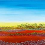 Hay Plain Sunruse 1 - Acrylic on Linen, 102cm x 76cm x 3.8cm