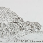Long Beach Rocky Shore - Ink Drawing, 47cm x 38cm Framed