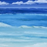 Sea breaking over Reefs - SOLD  [Oil on Canvas Board, 50cm x 43cm Framed]