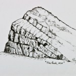 The Rock - SOLD [Ink Drawing, 36cm x 61cm Framed]