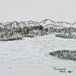 Yarramundi Reach (Lake Burley Griffin) - SOLD [Ink drawing, 36cm x 31cm Framed]